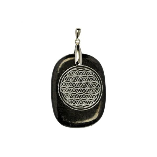 Shungite pendant silver flower of life