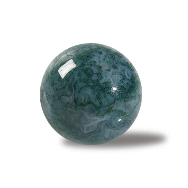 Moss agate stone ball