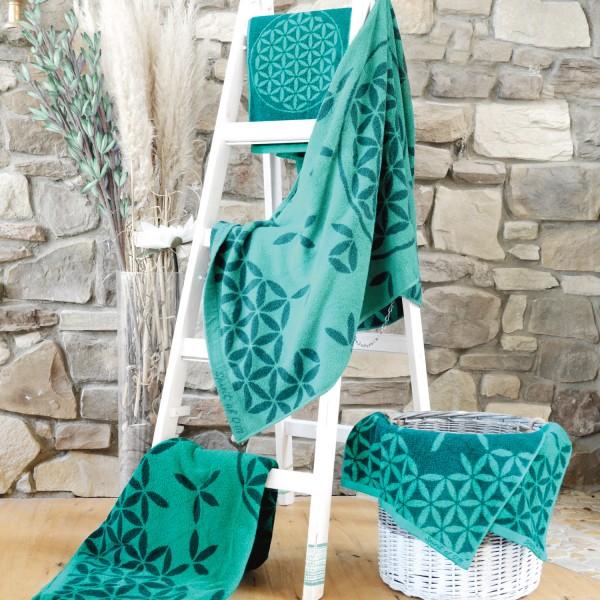 Großes Badetuch Blume des Lebens smaragd /grün mit Edelsteinen