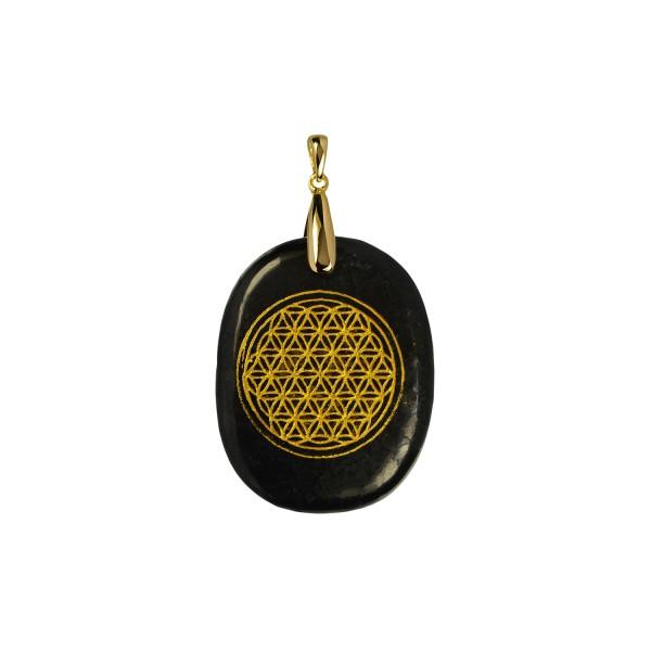 Shungite pendant gold-plated flower of life