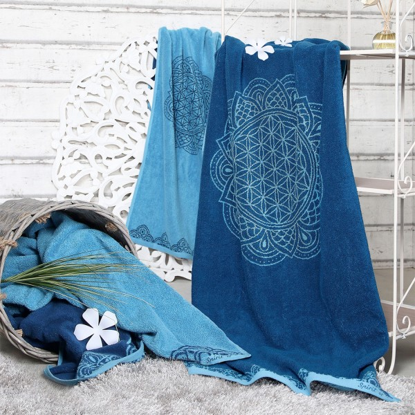 Large bath towel flower of life blue / azure with precious stones